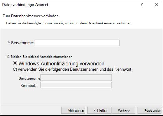 Daten Datenverbindungs-Assistenten Bildschirm 1