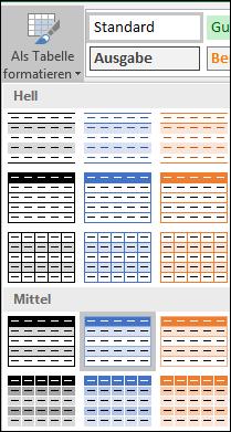 """Excel-Formatvorlagenkatalog-Auswahlen für """"Als Tabelle formatieren"""""""