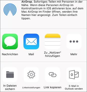 """Screenshot der Schaltfläche """"Foto speichern"""" in der OneDrive-App unter iOS"""