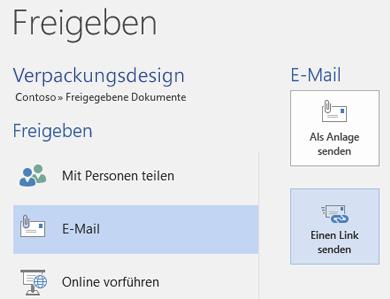 Sending einer E-Mail an das Team