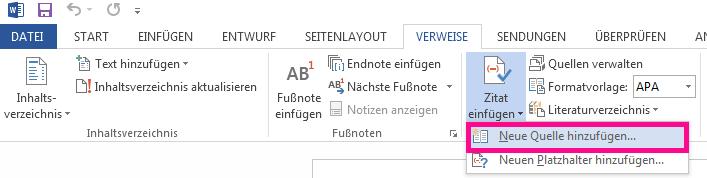 """Klicken Sie auf der Registerkarte """"Verweise"""" auf """"Zitat einfügen"""", und klicken Sie dann auf """"Neue Quelle hinzufügen""""."""