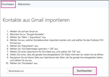 """Wählen Sie """"Durchsuchen"""" aus, um Ihre CSV-Datei zu suchen, und wählen Sie dann """"Hochladen"""" aus, um sie in Ihr Office 365-Konto zu importieren."""