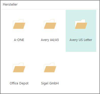 Postkartenvorlagen für bestimmte Postkartenhersteller, beispielsweise Avery