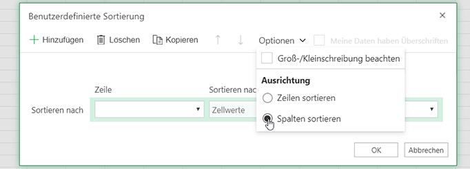 """Im Dialogfeld für benutzerdefinierte Sortierung öffnen Sie das Menü """"Optionen"""" und wählen Sie die Sortierung von links nach rechts aus"""