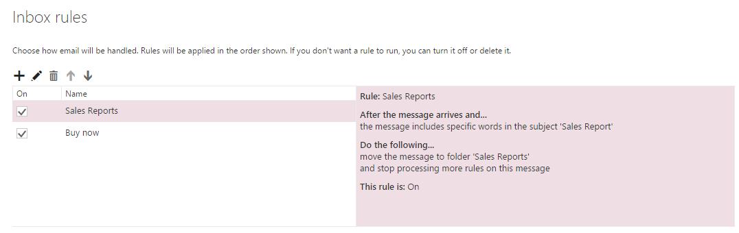 """Dialogfeld """"Regeln und Benachrichtigungen"""""""