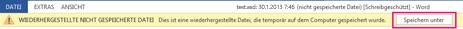 Speichern einer wiederhergestellten Datei in Word2013