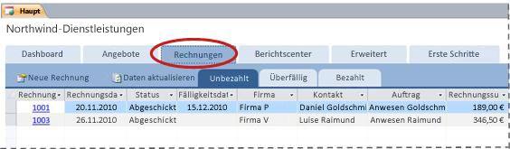 Registerkarte 'Rechnungen' der Datenbankvorlage 'Dienstleistungen'