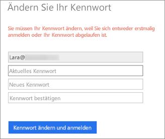 Office 365 fordert den Benutzer zum Erstellen eines neuen Kennworts auf.