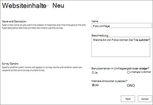 """Dialogfeld """"Neue Umfrage"""" mit ausgefüllten Textfeldern."""