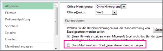 Excel-Option zum Deaktivieren des Startbildschirms beim Öffnen von Excel