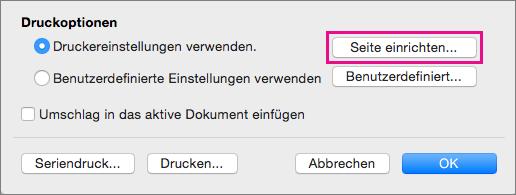 """Klicken Sie auf """"Seite einrichten"""", um eine Umschlaggröße und ein Layout aus den Konfigurationen auszuwählen, die Ihr Drucker bereitstellt."""