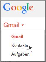 """Zum Importieren von Gmail-Kontakten in Office 365 wählen Sie in Gmail """"Gmail"""" und dann """"Kontakte"""" aus."""
