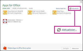 """Apps für Office-Schaltfläche """"Aktualisieren"""""""
