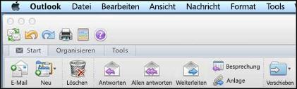 So sieht das Menüband in Outlook für Mac 2011 aus.