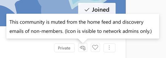 Screenshot mit Bestätigung nach dem Muting einer Community