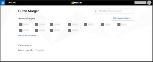 Die Startseite von Office 365