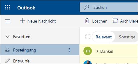 Ein Screenshot von Mail in der Beta Version von Outlook im Web