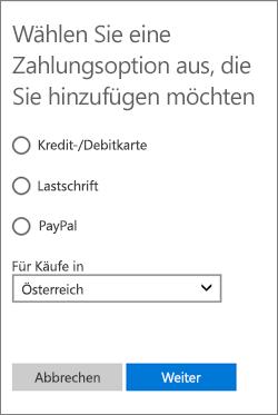 """Menü """"Zahlungsoption auswählen"""" mit den in Österreich verfügbaren Optionen"""