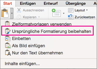 """Option """"Ursprüngliche Formatierung beibehalten"""" im Menü """"Einfügen"""""""