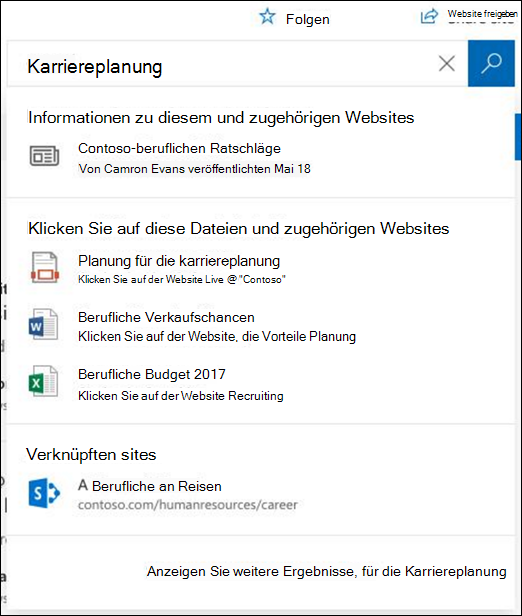 Suchergebnisse auf einer SharePoint-Website-hub