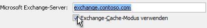 Kontrollkästchen 'Exchange-Cache-Modus verwenden'