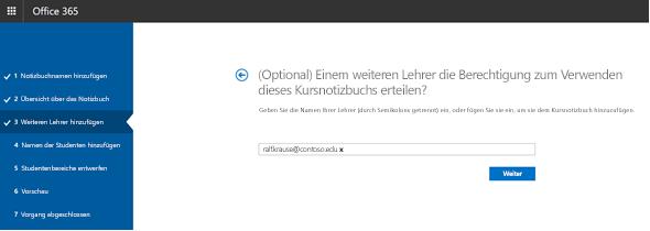 Screenshot des optionalen Schritts für Berechtigungen für weitere Lehrkräfte