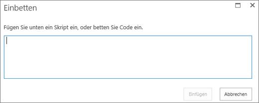 """Screenshot des Dialogfelds """"Einbetten"""" in SharePoint Online, um ein Skript einzufügen oder Code für Video- oder Audiodateien einzubetten und dann den Code einzufügen"""