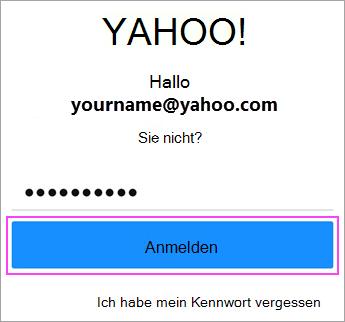 Geben Sie ein Kennwort Yahoo