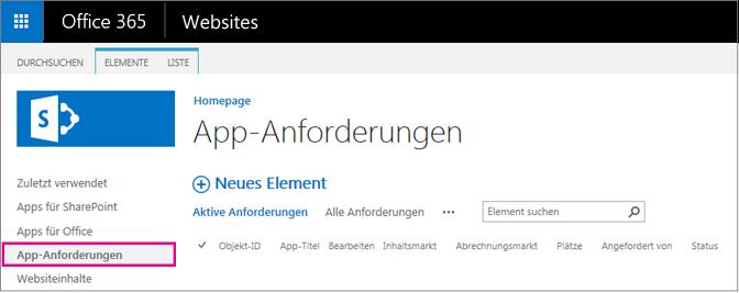 """Screenshot mit dem Link """"App-Anforderung"""""""