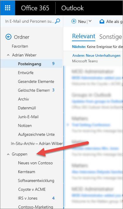 In Outlook oder Outlook im Web finden Sie Ihre Gruppen im Navigationsbereich auf der linken Seite.