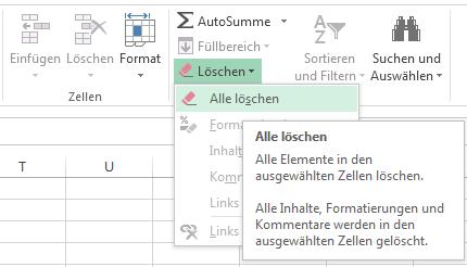 """Sie finden """"Alles löschen"""" im Menü """"Löschen""""."""