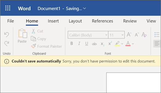 """Screenshot von """"Fehler beim automatischen Speichern"""" beim Bearbeiten eines Dokuments in Word"""