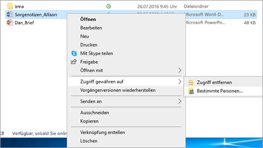 Freigeben einer Datei für bestimmten Personen in einem Netzwerk