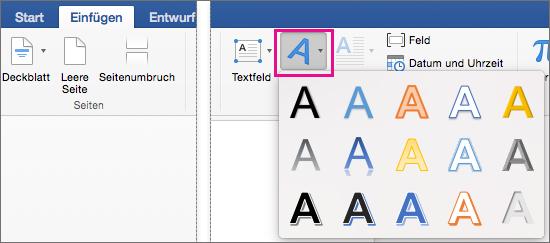 "Registerkarte ""Einfügen"" mit hervorgehobener Option ""WordArt"""