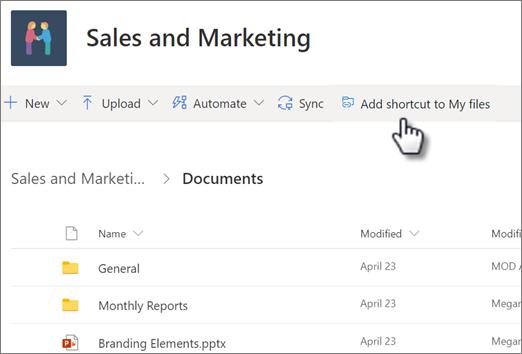 Screenshot des Hinzufügens einer Verknüpfung zu Ihrem OneDrive aus einer freigegebenen Bibliothek