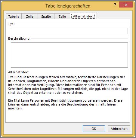 "Registerkarte ""Alternativtext"" im Dialogfeld ""Tabelleneigenschaften"""