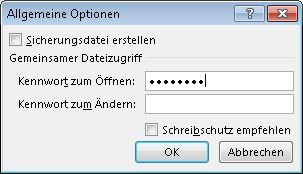 """Das Dialogfeld """"Allgemeine Optionen"""""""