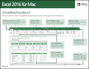 Excel 2016 für Mac – Schnellstartleitfaden
