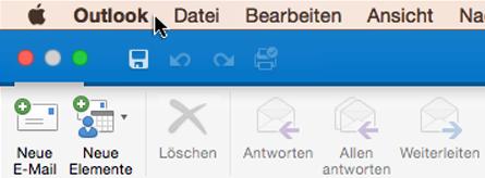"""Um festzustellen, über welche Outlook-Version Sie verfügen, wählen Sie auf der Menüleiste """"Outlook"""" aus."""