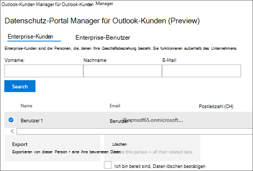 Screenshot: Exportieren der Kundendaten von Outlook Customer Manager