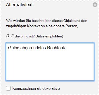Alternativtext Bereich für Shapes in PowerPoint für Mac in Office 365