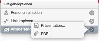 PowerPoint für Mac, Optionen für die Freigabe von E-Mails
