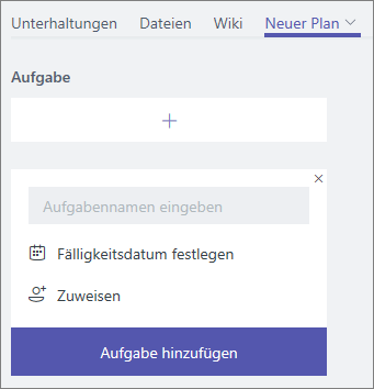 Screenshot einer neu hinzugefügten Planregisterkarte in Teams
