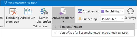 Screenshot der Schaltfläche zum Anfordern von Antworten in Outlook 2016 für Windows