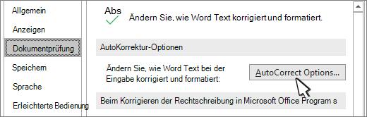 Schaltfläche ' AutoKorrektur-Optionen ' im Dialogfeld ' Dokumentprüfung '