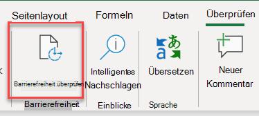 Screenshot der Benutzeroberfläche zum Öffnen der Barrierefreiheitsprüfung