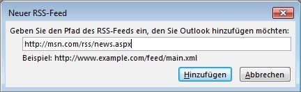 Eingeben der URL für den RSS-Feed