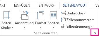 Schaltfläche zum Öffnen des Dialogfelds 'Seite einrichten'