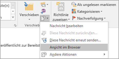 """Wählen Sie """"Im Browser anzeigen"""" aus."""