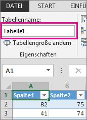 Umbenennen einer Tabelle im Feld 'Tabellenname'